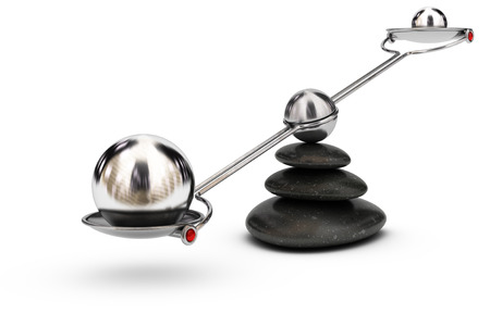 Two spheres with different sizes on a seesaw over white background, imbalance concept or symbol Stock Photo