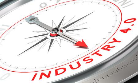 Boussole avec l'aiguille pointant le mot industrie 4.0. Concept de l'avenir industriel notion de confiance sur fond blanc. Banque d'images