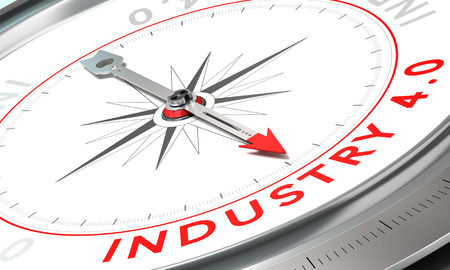 Compass with needle pointing the word industry 4.0. Concept of industrial future confidence concept over white background.