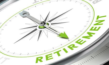 planificacion: Compás con aguja apuntando la palabra jubilación Foto de archivo
