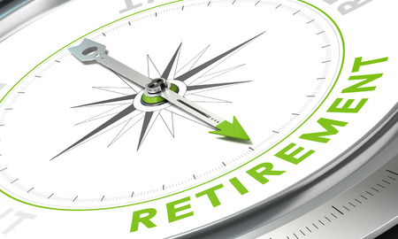 retirement: Compass with needle pointing the word retirement