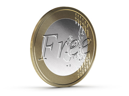 freebie: Free euro coin over white background with shadow and scratches