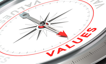 mandate: Compass with needle pointing the word values. Conceptual illustration part three of a company statement, Mission, Vision and Value.