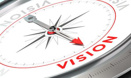 Boussole avec l'aiguille pointant le mot vision. Conceptuel illustration deuxième partie d'un communiqué de la compagnie, Mission, Vision et Valeur.