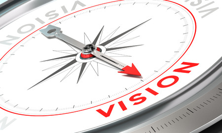 mandate: Compass with needle pointing the word vision. Conceptual illustration part two of a company statement, Mission, Vision and Value.