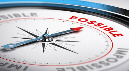 Compass with needle pointing the word possible. Conceptual illustration suitable for motivation purpose or goal achievement.