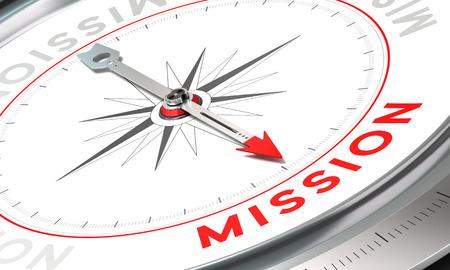 Boussole avec l'aiguille pointant le mot mission. Illustration conceptuelle de la première partie d'un communiqué de la compagnie, Mission, Vision et Valeur. Banque d'images