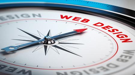 바늘이 단어 웹 디자인을 가리키는 나침반. 자인 회사 또는 온라인 디지털 마케팅 대행사에 적합한 개념적 그림입니다. 스톡 콘텐츠