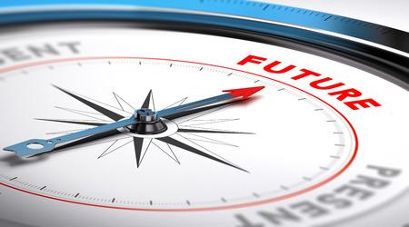 Kompas met naald naar het woord toekomst. Conceptuele illustratie geschikt voor de motivatie doel of toekomstvisie.