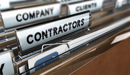 Close up on a file tab with the word contractors, focus on the main word and blur effect. Concept image for illustration of contractors or subcontractors company database. Фото со стока