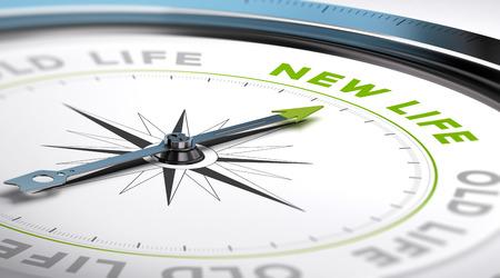 brujula: Compás con aguja hacia la nueva vida de texto. Ilustración conceptual adecuado para el cambio motivación. Foto de archivo