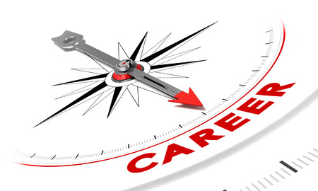 Compass with needle pointing the word career. Conceptual illustration suitable for motivation purpose or job search. Stockfoto