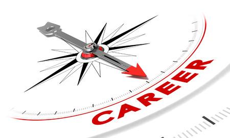 kompas: Kompas s jehlou slovo kariéru. Ilustrace vhodný pro daný účel motivaci či hledání zaměstnání.