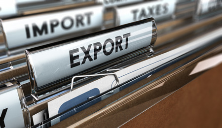 exporter: Close up on a file tab with the word export, focus on the main word and blur effect. Concept image for illustration of global business and import export company Stock Photo