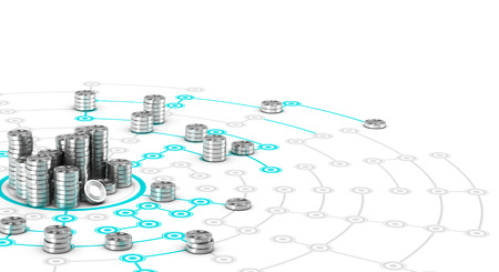 Many symbolic coins on a collaborative network. Conceptual 3D image for illustration of crowdfunding.