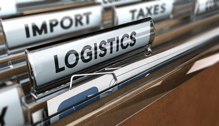 Close up on a file tab with the word logistics, focus on the main text and blur effect. Concept image for illustration of supply chain management. Stock Photo