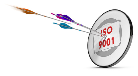 One target with three colorfull arrows hitting the text ISO 9001. Concept image for illustration of quality standard.