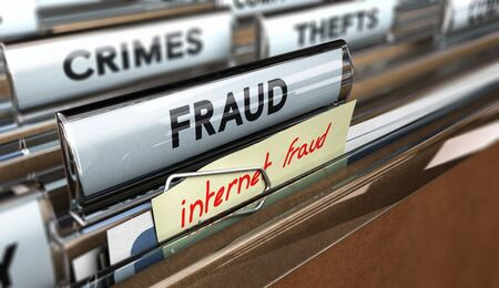 web scam: Close up on a file tab with the text fraud plus a note where it is handwritten internet frauds. Blur effect. Concept image for illustration of online scams or cybercrime.