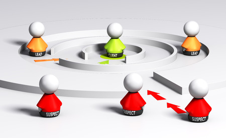 3D render conceptual imagen, sospechoso, plomo y personajes de clientes en un embudo de ventas. Concepto de la generación de clientes potenciales.