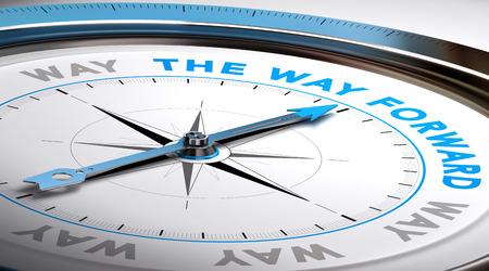 Kompas met naald de tekst wijst weg vooruit. Conceptuele illustratie geschikt voor de keuze of adviesdiensten doel. Stockfoto