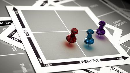 Risk versus value matrix with pushpins and blur effect. Concept of investment risk assessment. Foto de archivo