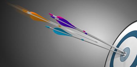 ターゲット ブルズアイ プラス約中心をヒットするモーションでオレンジ 1 つを打つ 3 つの矢印。競争力やビジネス パフォーマンスのコンセプト イメージです。 写真素材 - 42854792