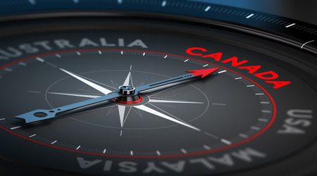 immigrate: Black compass with needle pointing the country Canada. Conceptual illustration part one of the three best immigration countries. Stock Photo