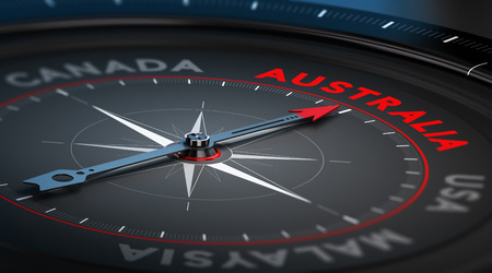 australia: Black compass with needle pointing the country Australia. Conceptual illustration part three of the three best immigration countries. Stock Photo