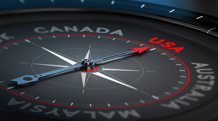 immigrate: Black compass with needle pointing the country USA. Conceptual illustration part two of the three best immigration countries. Stock Photo