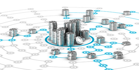 Many symbolic coins on a collaborative network. Conceptual 3D image for illustration of crowdfunding or fund raising. Фото со стока