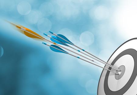 Tres flechas azules que golpean el centro de destino, más un una naranja en movimiento a punto de golpear la diana. Imagen del concepto para el éxito o el logro de metas.