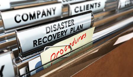 comunicação: Feche acima em uma guia do arquivo com o texto Plano de Recuperação distaster, o foco no texto principal e efeito blur. Imagem do conceito para ilustração de DRP ans comunicação de crise.