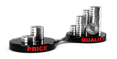 Price vs quality concept, abstract coins piles. Conceptual image for business cost management for a value added product. Banque d'images