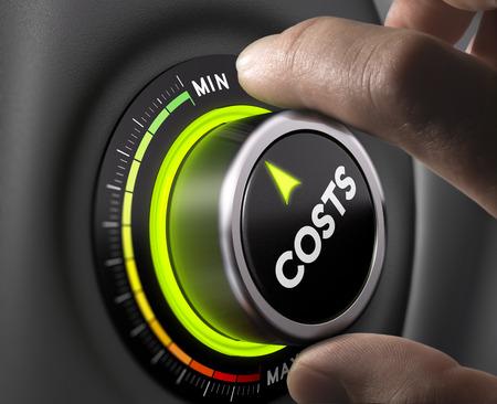 contabilidad: Dedos hombre sentado botón costo en la posición mínima. Imagen del concepto de ilustración de la gestión de costes. Foto de archivo