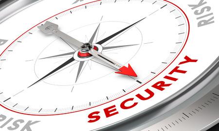 Boussole avec l'aiguille pointant le mot ???. Illustration conceptuelle de la sécurité ou de la gestion des risques. Business concept image.