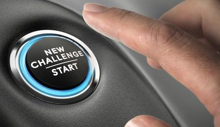 Finger about to press a challenge button. Ambitious man, motivation concept.