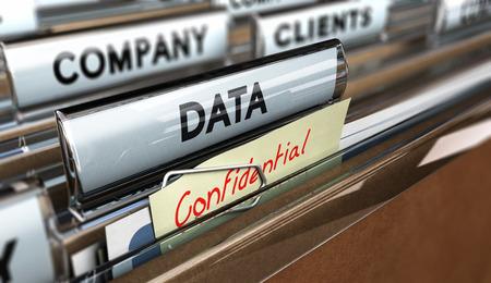 seguridad industrial: Cierre en una pestaña archivo con los datos de palabras y confidencial, se centran en el texto principal y el efecto de desenfoque. Concepto de imagen para la ilustración de la protección de datos de la empresa.