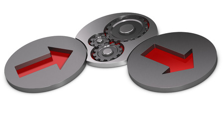 input output: Input process and output model. Two metal cylinders with red arrows inside and one with gears over white background. Stock Photo