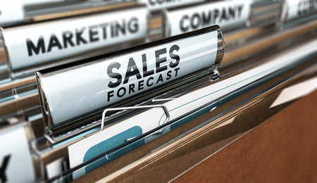 Close up on a file tab with the text sales forecast, focus on the main tab and blur effect. Concept image for illustration of sales vision.