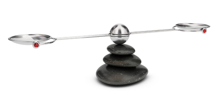 equivalence: Empty seesaw balanced on three peebles over white background, analysis concept.