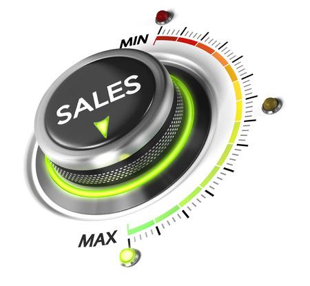 판매 스위치 버튼은 최대, 흰색 배경과 푸른 빛에 위치. 판매 전략 및 소득의 성장을위한 개념적 이미지.