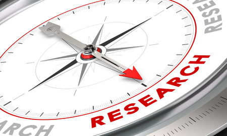inventions: Compass with needle pointing the word research. Conceptual illustration for cognition development and inovation. Stock Photo