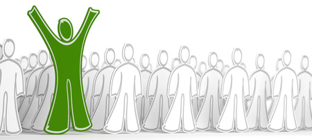 arms raised: Many white character with arms down and one green person with his arms raised. Conceptual illustration symbol of success in business or successful candidate. Stock Photo