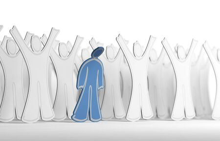 shame: Many white character with arms raised and one blue person with his arms down. Conceptual illustration symbol of depression and mental health. Stock Photo