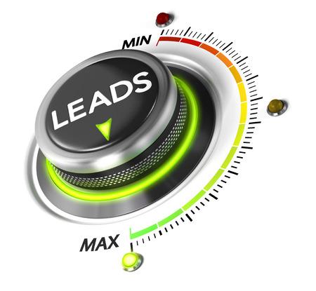 Leads schakelen knop geplaatst op maximum, een witte achtergrond en groen licht. Conceptueel beeld voor leads genereren illustratie.