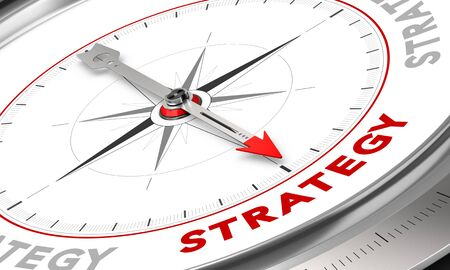 strategize: Compass with needle pointing the word strategy. Conceptual illustration for sales strategies management. Business concept.