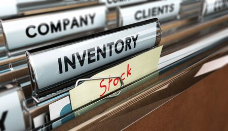 Close up on a file tab with the word inventory and a note fixed with a paperclip where it is handwritten stock, focus on the main text and blur effect. Concept image for illustration of inventory management.