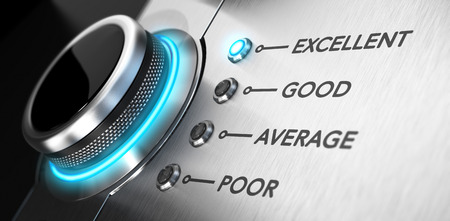 service: Rating button positioned on the word excellent. Conceptual image for illustration of good customer service and client satisfaction. Stock Photo
