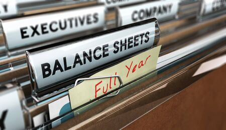 spreadsheets: Close up on a file tab with the word balance sheets plus a not with the text full year with blur effect. Concept image for illustration of year end accounts.