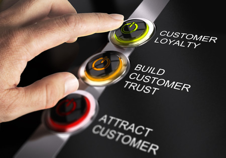 business relationship: Finger about to press customer loyalty button. Concept for illustration of sales process.